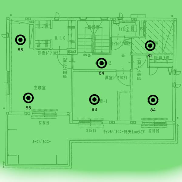 ヒートマップ_2F_2.4GHz(2台)